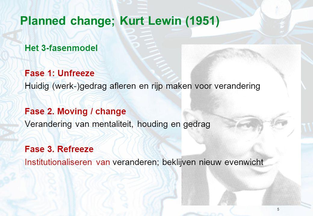 5 Planned change; Kurt Lewin (1951) Het 3-fasenmodel Fase 1: Unfreeze Huidig (werk-)gedrag afleren en rijp maken voor verandering Fase 2. Moving / cha