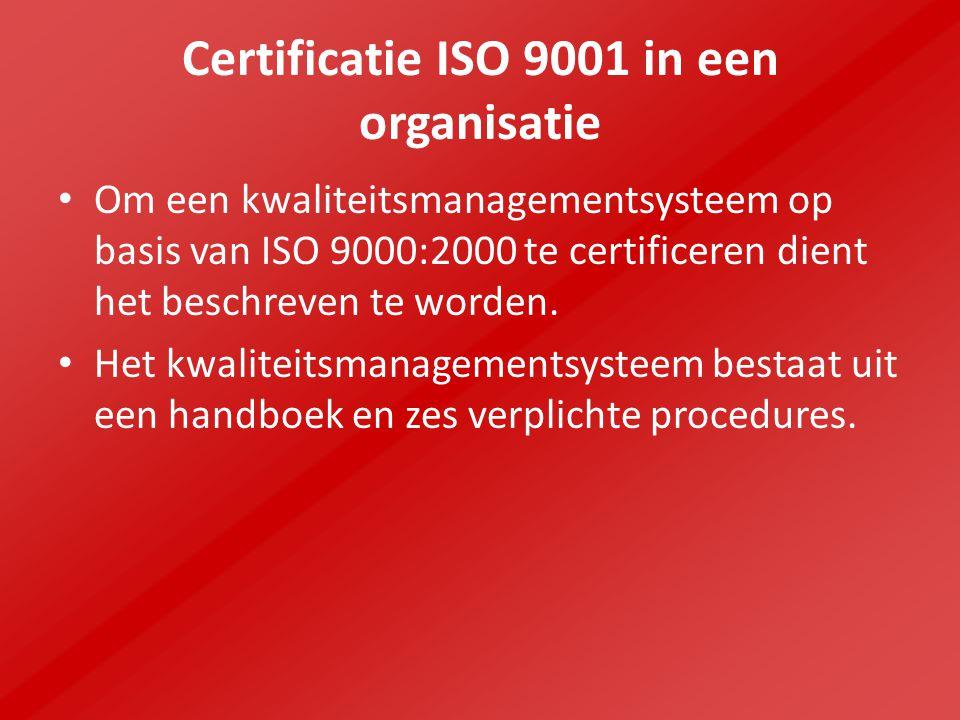 Certificatie ISO 9001 in een organisatie Om een kwaliteitsmanagementsysteem op basis van ISO 9000:2000 te certificeren dient het beschreven te worden.