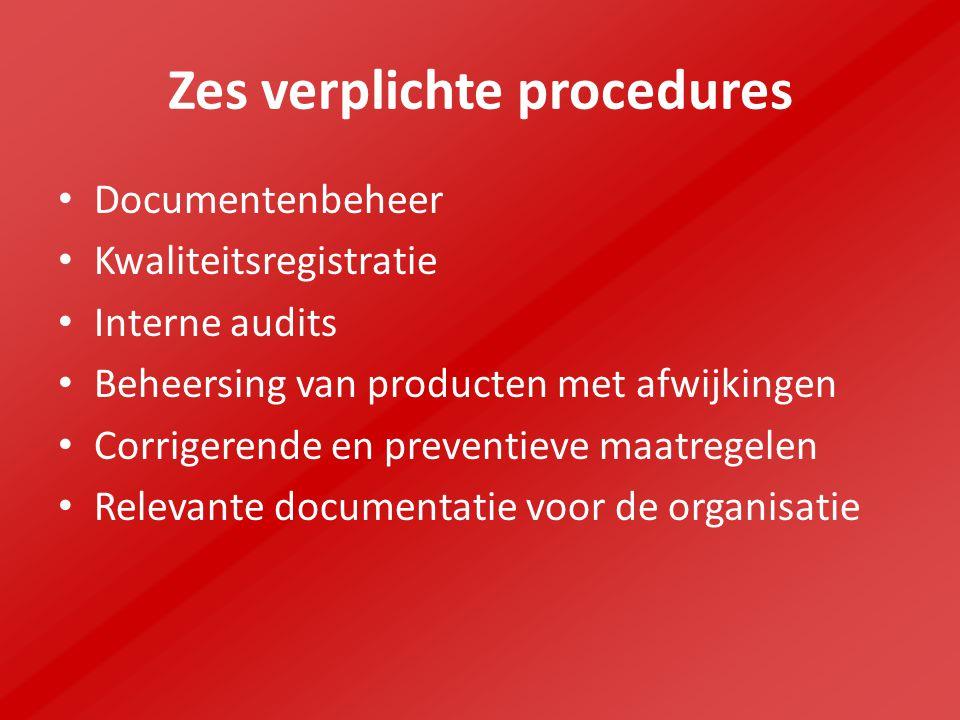 Zes verplichte procedures Documentenbeheer Kwaliteitsregistratie Interne audits Beheersing van producten met afwijkingen Corrigerende en preventieve maatregelen Relevante documentatie voor de organisatie
