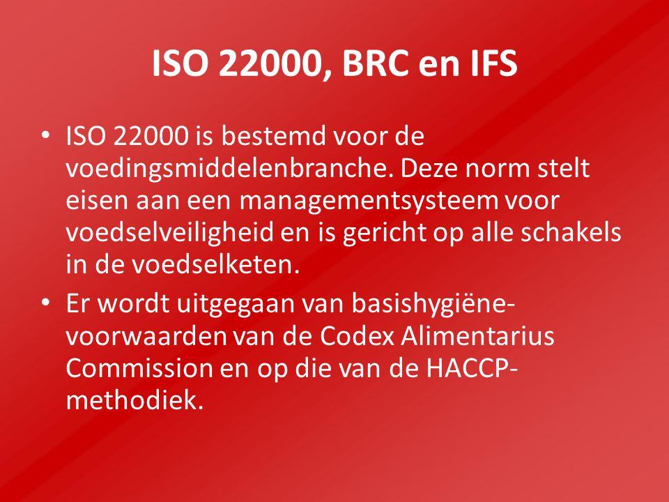 ISO 22000, BRC en IFS ISO 22000 is bestemd voor de voedingsmiddelenbranche.