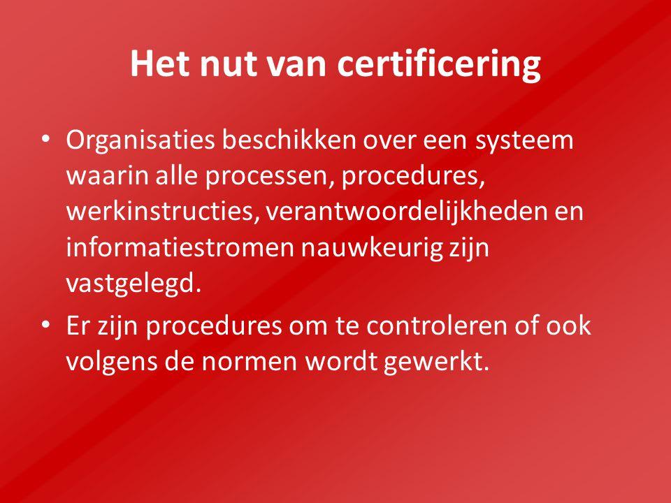 Het nut van certificering Organisaties beschikken over een systeem waarin alle processen, procedures, werkinstructies, verantwoordelijkheden en informatiestromen nauwkeurig zijn vastgelegd.