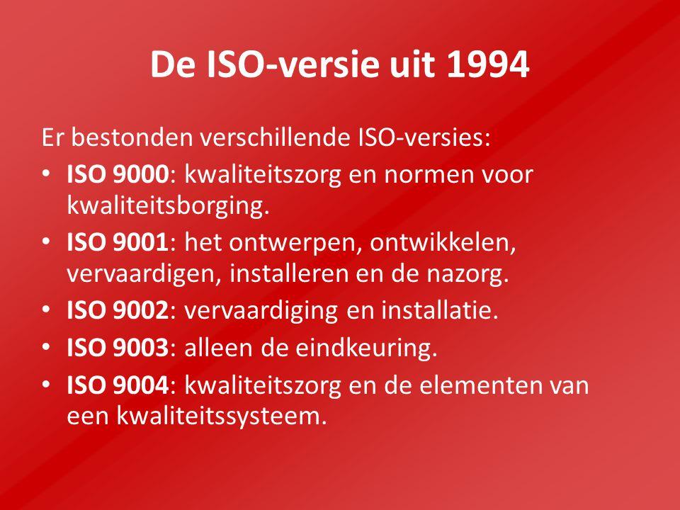 De ISO-versie uit 1994 Er bestonden verschillende ISO-versies: ISO 9000: kwaliteitszorg en normen voor kwaliteitsborging.