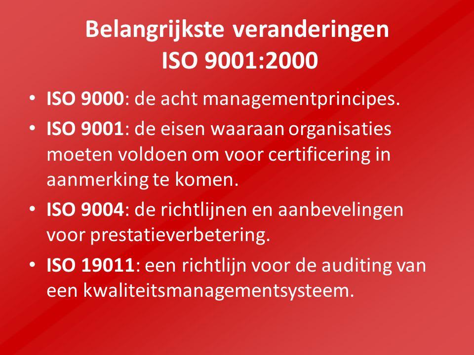 Belangrijkste veranderingen ISO 9001:2000 ISO 9000: de acht managementprincipes.