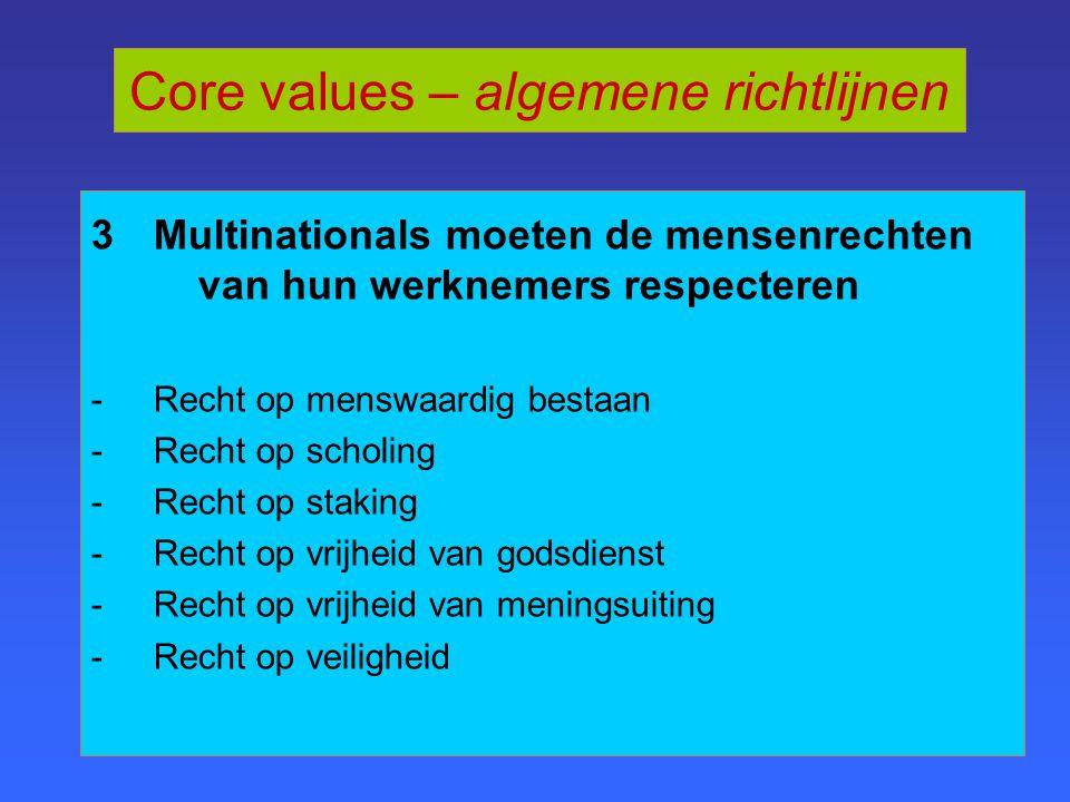 3 Multinationals moeten de mensenrechten van hun werknemers respecteren -Recht op menswaardig bestaan -Recht op scholing -Recht op staking -Recht op vrijheid van godsdienst -Recht op vrijheid van meningsuiting -Recht op veiligheid Core values – algemene richtlijnen