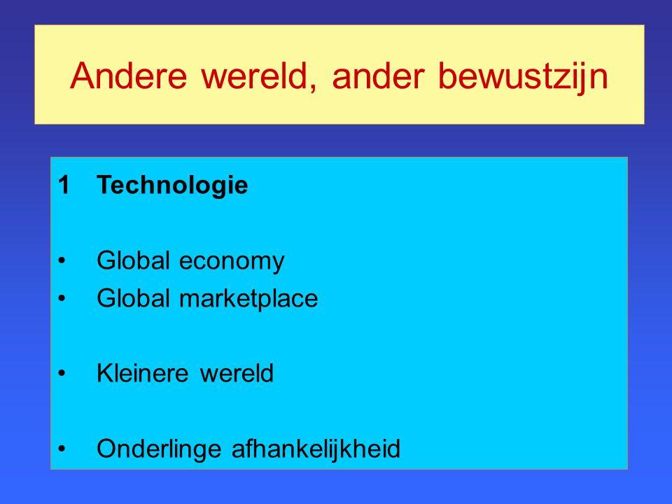 Andere wereld, ander bewustzijn 1Technologie Global economy Global marketplace Kleinere wereld Onderlinge afhankelijkheid