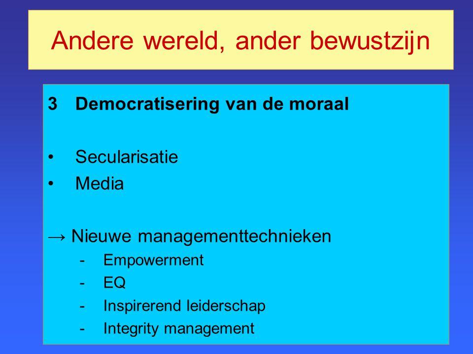 3Democratisering van de moraal Secularisatie Media → Nieuwe managementtechnieken -Empowerment -EQ -Inspirerend leiderschap -Integrity management Andere wereld, ander bewustzijn