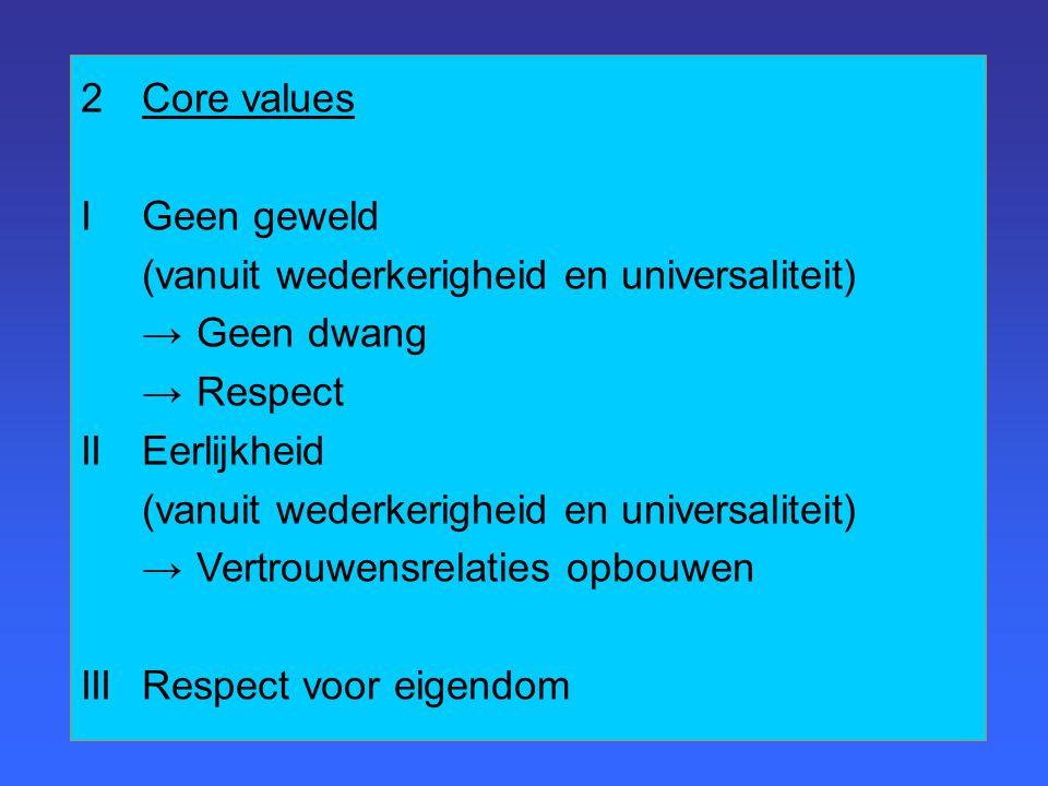 2Core values IGeen geweld (vanuit wederkerigheid en universaliteit) → Geen dwang → Respect IIEerlijkheid (vanuit wederkerigheid en universaliteit) → Vertrouwensrelaties opbouwen IIIRespect voor eigendom