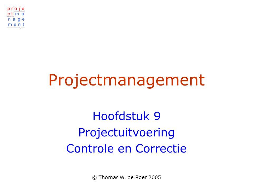 © Thomas W. de Boer 2005 Projectmanagement Hoofdstuk 9 Projectuitvoering Controle en Correctie