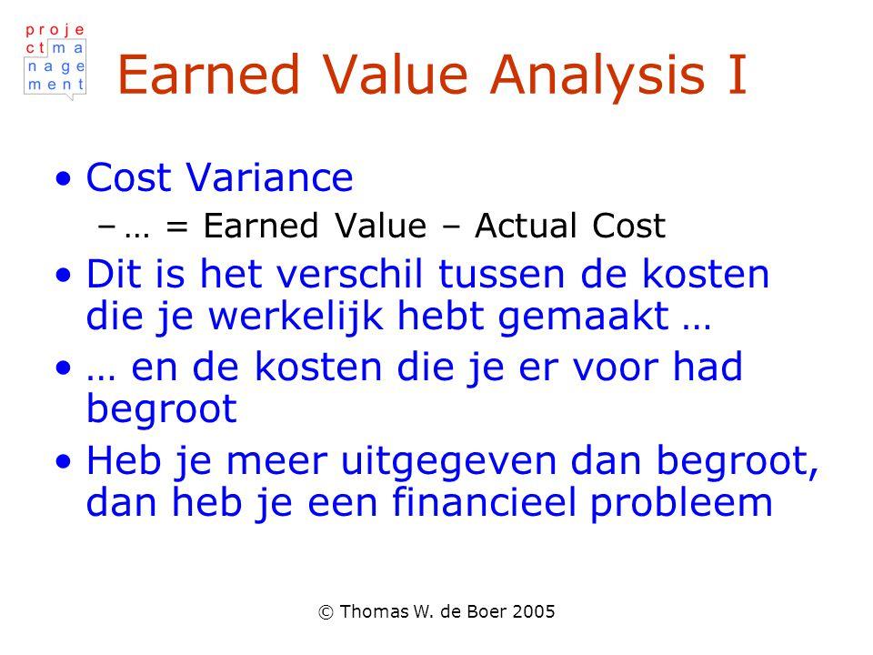 © Thomas W. de Boer 2005 Earned Value Analysis I Cost Variance –… = Earned Value – Actual Cost Dit is het verschil tussen de kosten die je werkelijk h