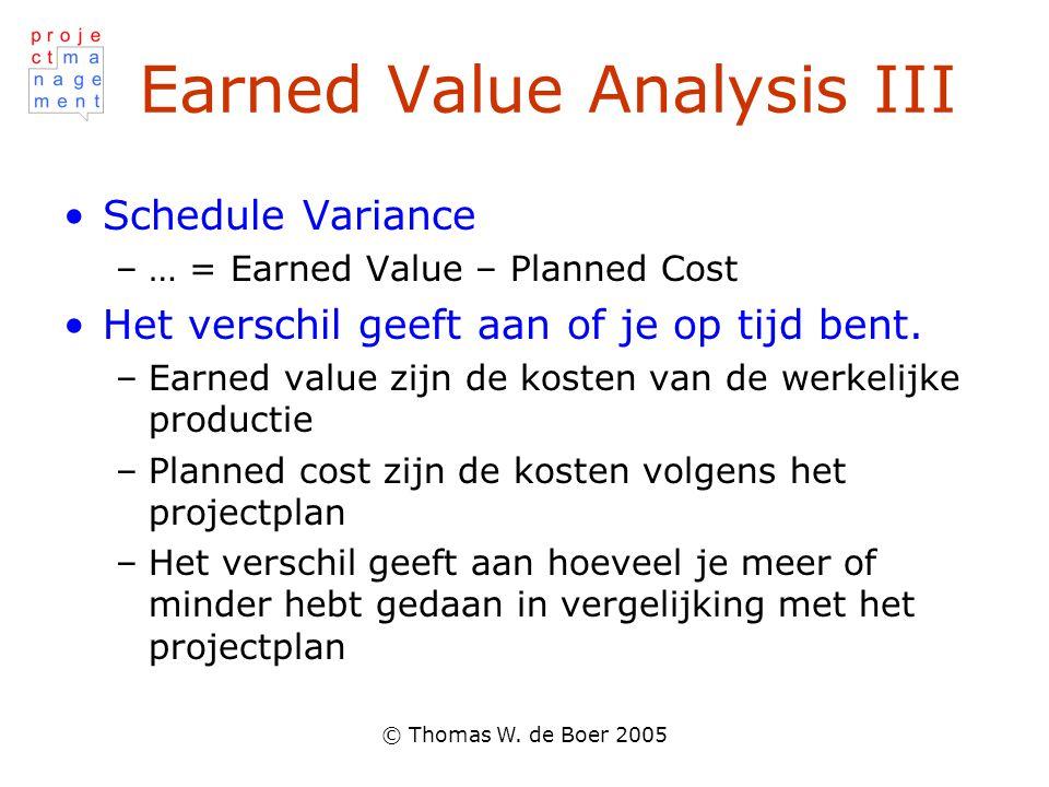 © Thomas W. de Boer 2005 Earned Value Analysis III Schedule Variance –… = Earned Value – Planned Cost Het verschil geeft aan of je op tijd bent. –Earn