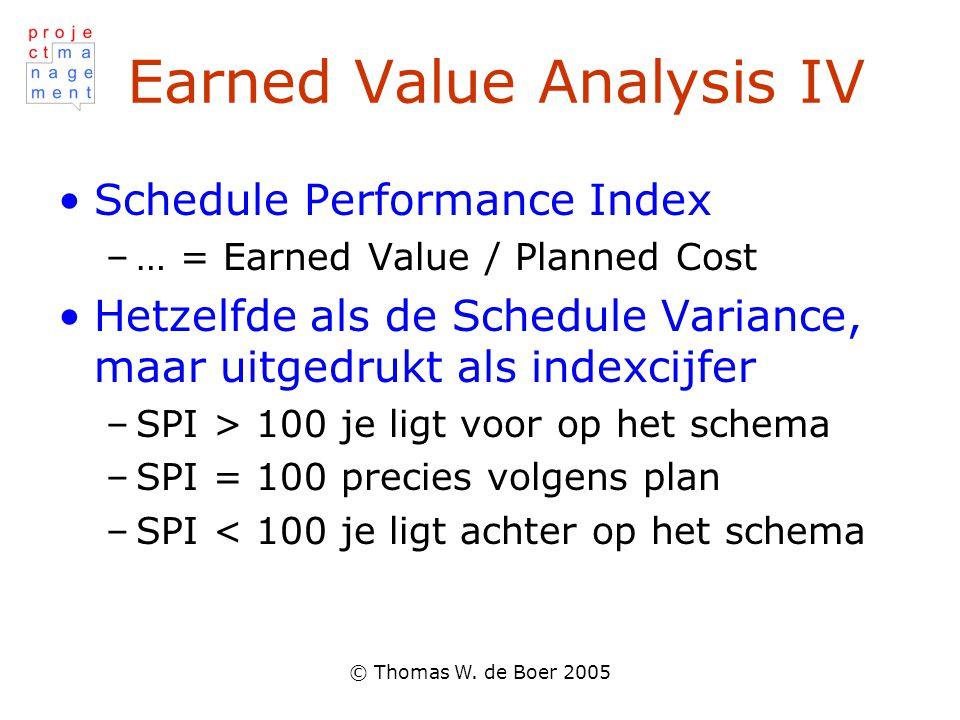 © Thomas W. de Boer 2005 Earned Value Analysis IV Schedule Performance Index –… = Earned Value / Planned Cost Hetzelfde als de Schedule Variance, maar