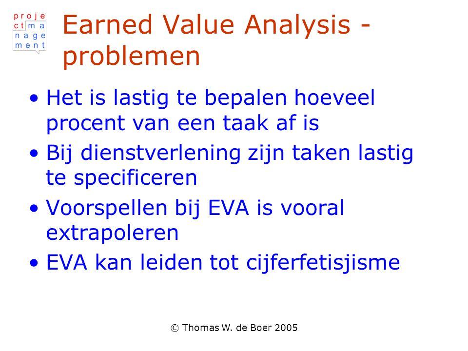 © Thomas W. de Boer 2005 Earned Value Analysis - problemen Het is lastig te bepalen hoeveel procent van een taak af is Bij dienstverlening zijn taken