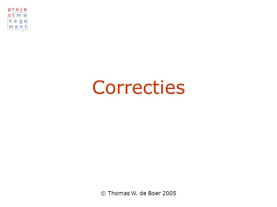 © Thomas W. de Boer 2005 Correcties