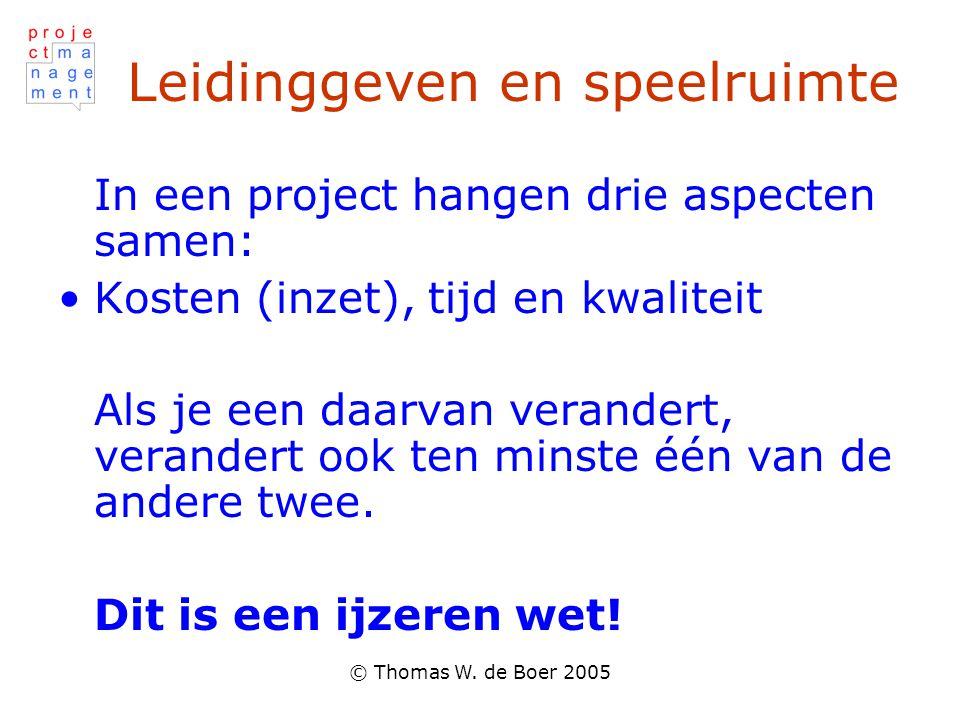 © Thomas W. de Boer 2005 Leidinggeven en speelruimte In een project hangen drie aspecten samen: Kosten (inzet), tijd en kwaliteit Als je een daarvan v