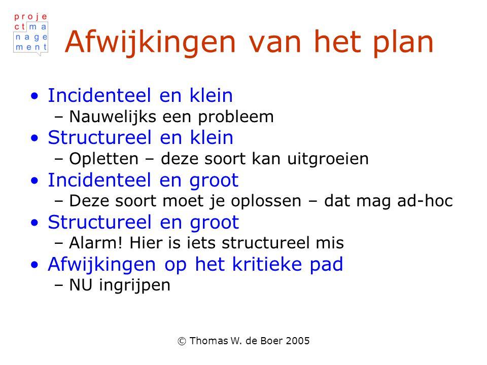 © Thomas W. de Boer 2005 Afwijkingen van het plan Incidenteel en klein –Nauwelijks een probleem Structureel en klein –Opletten – deze soort kan uitgro