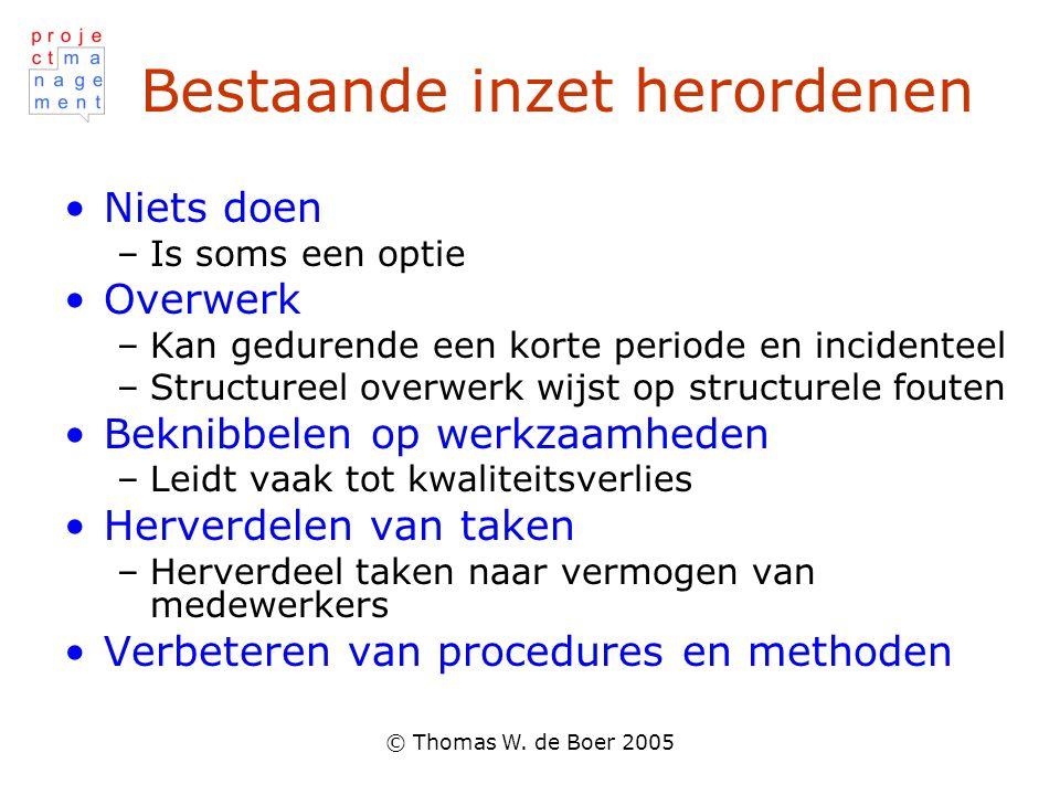 © Thomas W. de Boer 2005 Bestaande inzet herordenen Niets doen –Is soms een optie Overwerk –Kan gedurende een korte periode en incidenteel –Structuree