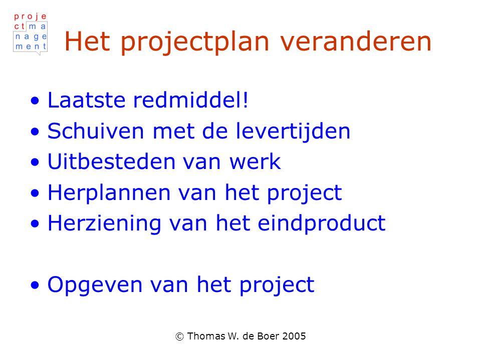 © Thomas W. de Boer 2005 Het projectplan veranderen Laatste redmiddel! Schuiven met de levertijden Uitbesteden van werk Herplannen van het project Her