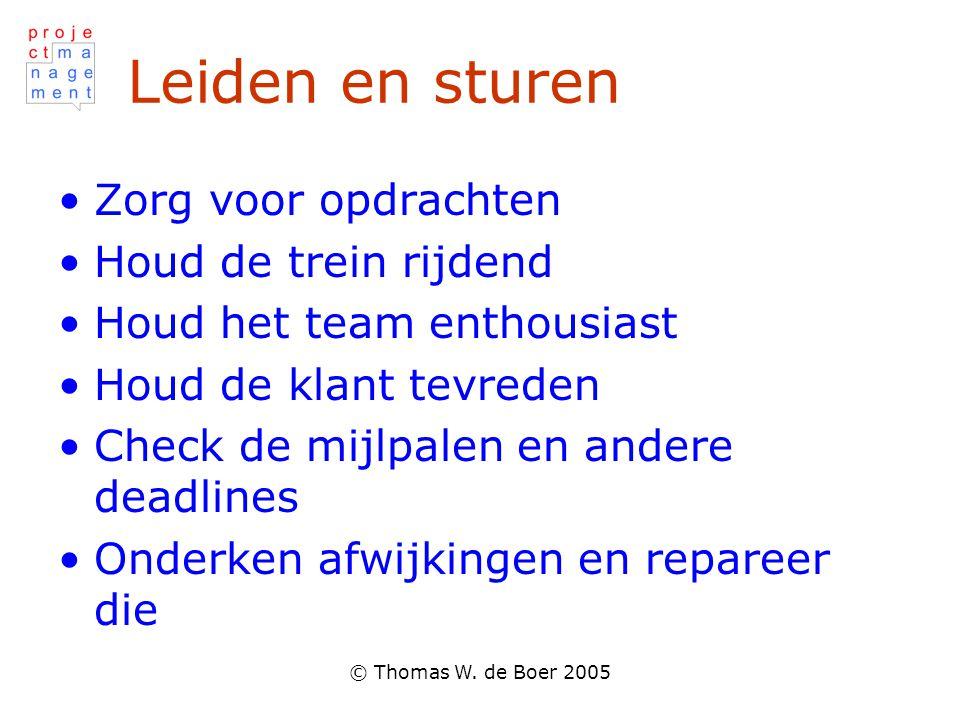 © Thomas W. de Boer 2005 Leiden en sturen Zorg voor opdrachten Houd de trein rijdend Houd het team enthousiast Houd de klant tevreden Check de mijlpal