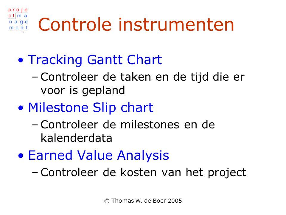 © Thomas W. de Boer 2005 Controle instrumenten Tracking Gantt Chart –Controleer de taken en de tijd die er voor is gepland Milestone Slip chart –Contr