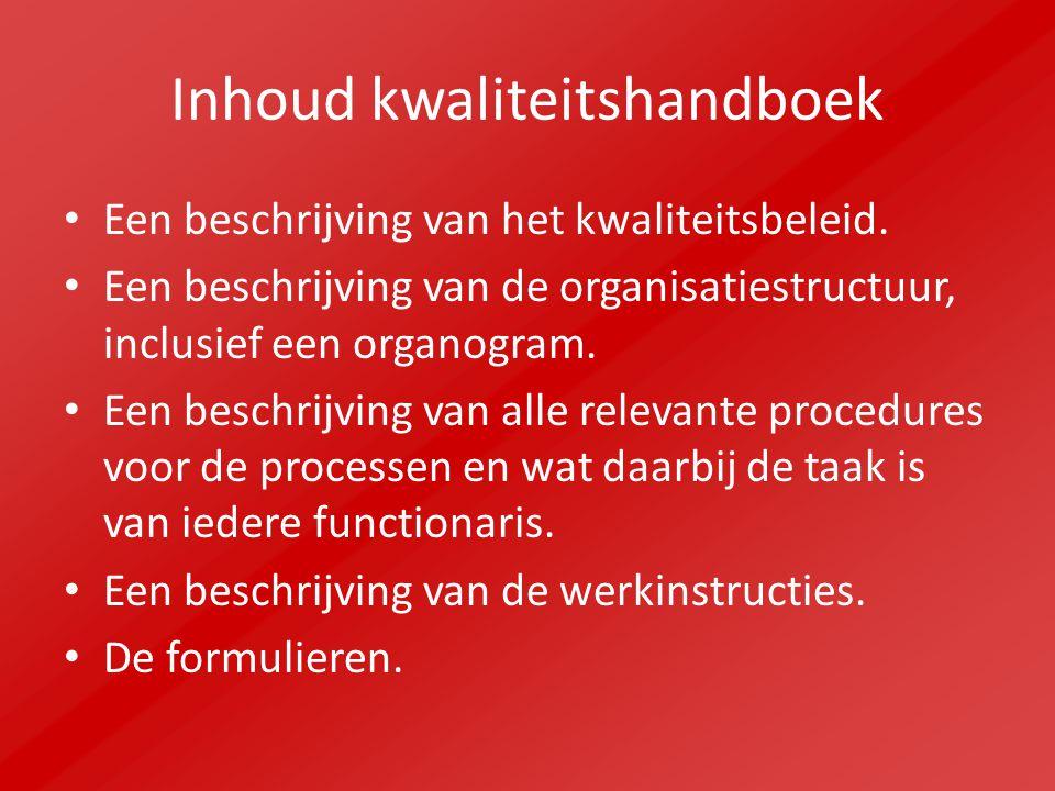 Inhoud kwaliteitshandboek Een beschrijving van het kwaliteitsbeleid.