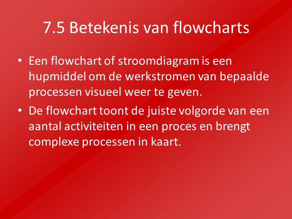 7.5 Betekenis van flowcharts Een flowchart of stroomdiagram is een hupmiddel om de werkstromen van bepaalde processen visueel weer te geven.