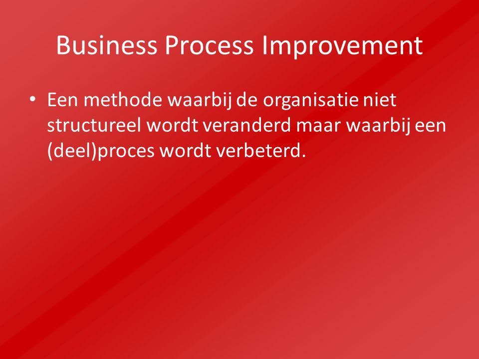 Business Process Redesign Een methode waarbij het totale productieproces en de producten grondig worden herzien.