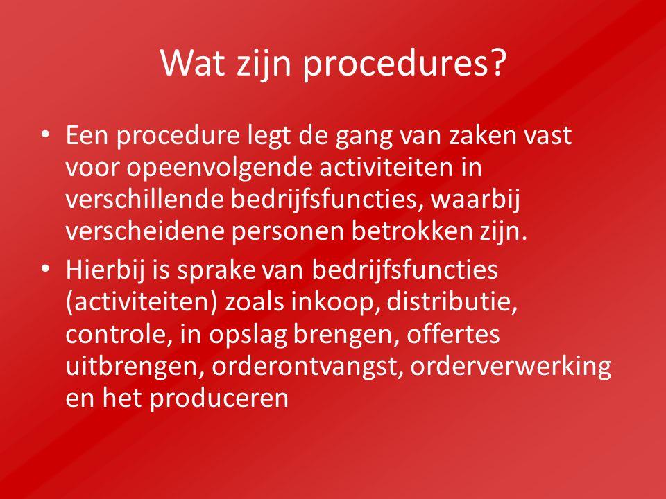 Wat zijn procedures.