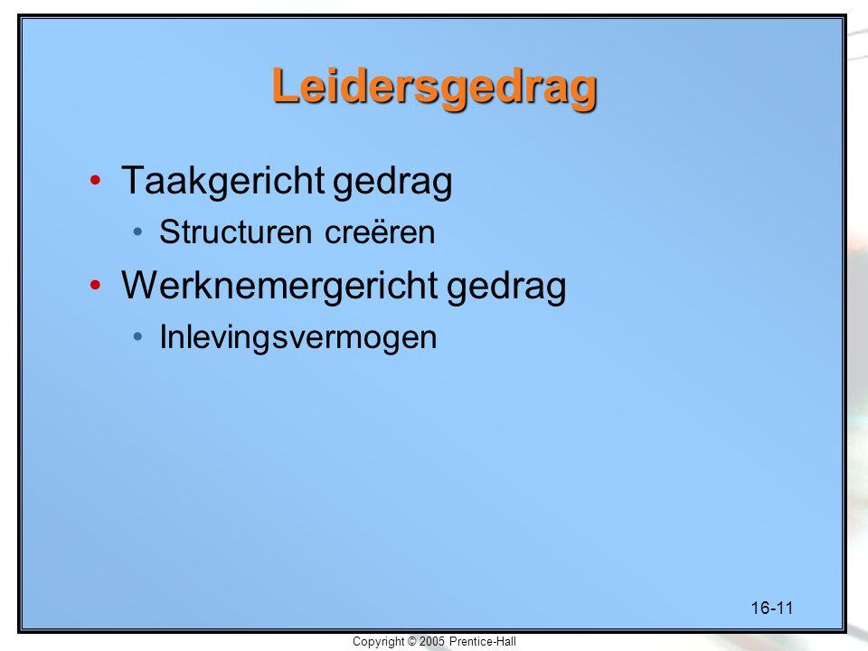 16-11 Copyright © 2005 Prentice-Hall Leidersgedrag Taakgericht gedrag Structuren creëren Werknemergericht gedrag Inlevingsvermogen