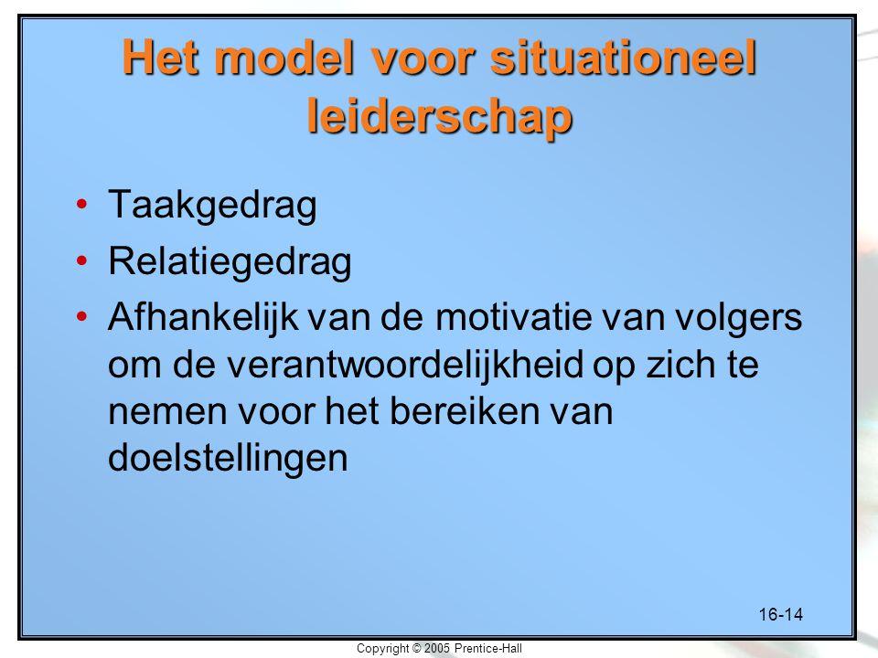 16-14 Copyright © 2005 Prentice-Hall Het model voor situationeel leiderschap Taakgedrag Relatiegedrag Afhankelijk van de motivatie van volgers om de verantwoordelijkheid op zich te nemen voor het bereiken van doelstellingen