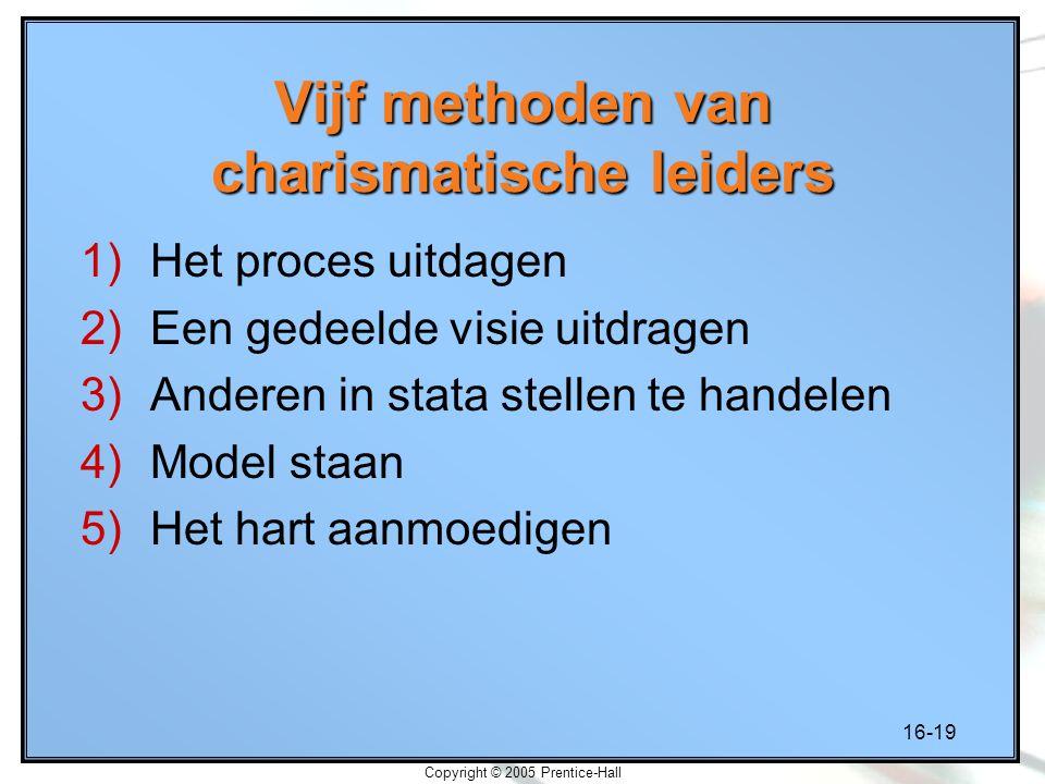 16-19 Copyright © 2005 Prentice-Hall Vijf methoden van charismatische leiders 1)Het proces uitdagen 2)Een gedeelde visie uitdragen 3)Anderen in stata