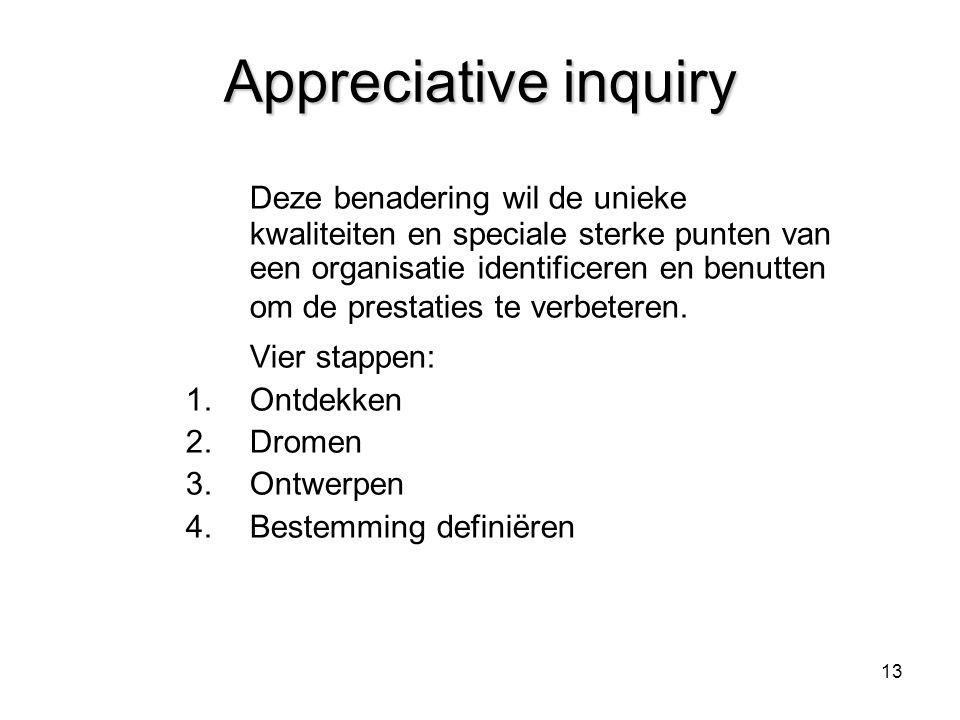 13 Appreciative inquiry Deze benadering wil de unieke kwaliteiten en speciale sterke punten van een organisatie identificeren en benutten om de presta