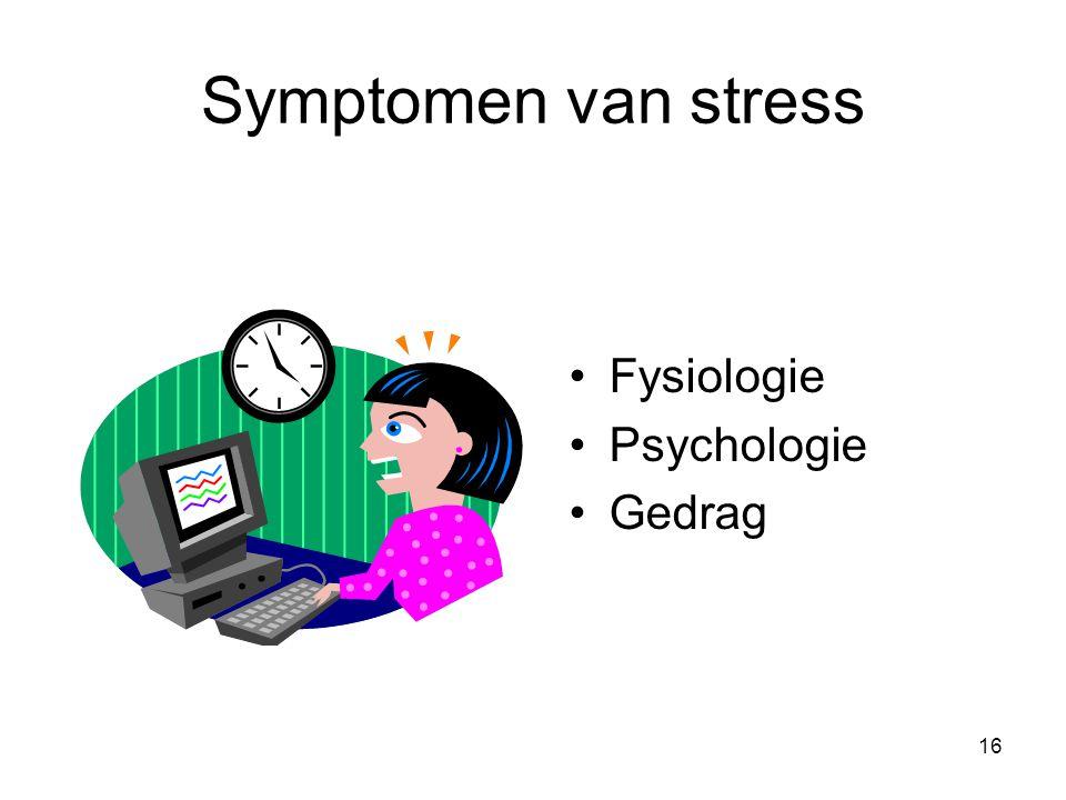 16 Symptomen van stress Fysiologie Psychologie Gedrag