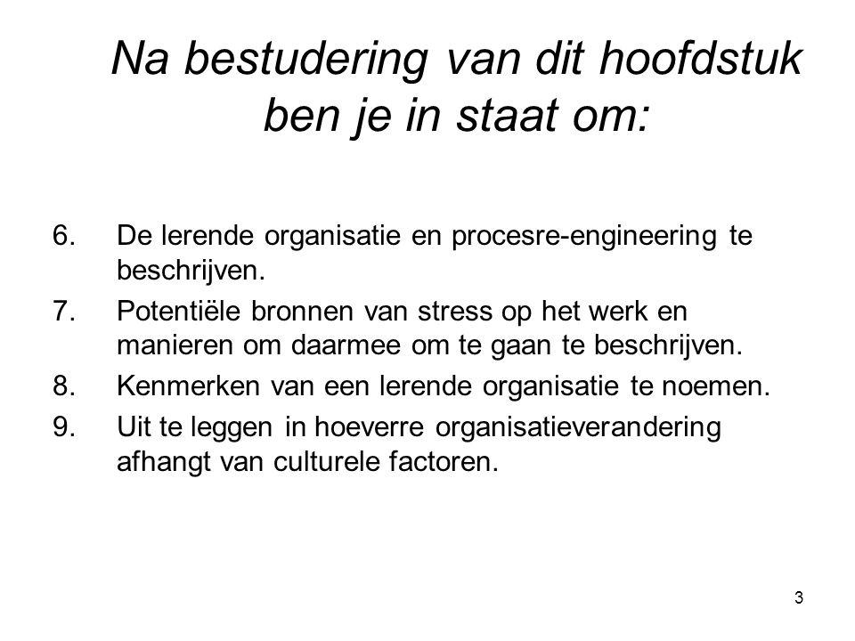 3 6.De lerende organisatie en procesre-engineering te beschrijven. 7.Potentiële bronnen van stress op het werk en manieren om daarmee om te gaan te be