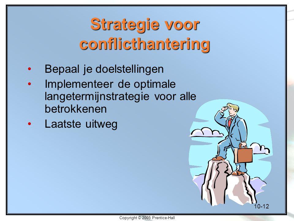 10-12 Copyright © 2005 Prentice-Hall Strategie voor conflicthantering Bepaal je doelstellingen Implementeer de optimale langetermijnstrategie voor all
