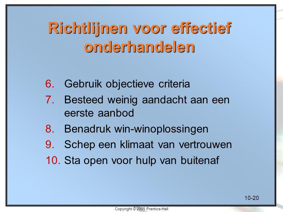 10-20 Copyright © 2005 Prentice-Hall Richtlijnen voor effectief onderhandelen 6.Gebruik objectieve criteria 7.Besteed weinig aandacht aan een eerste a