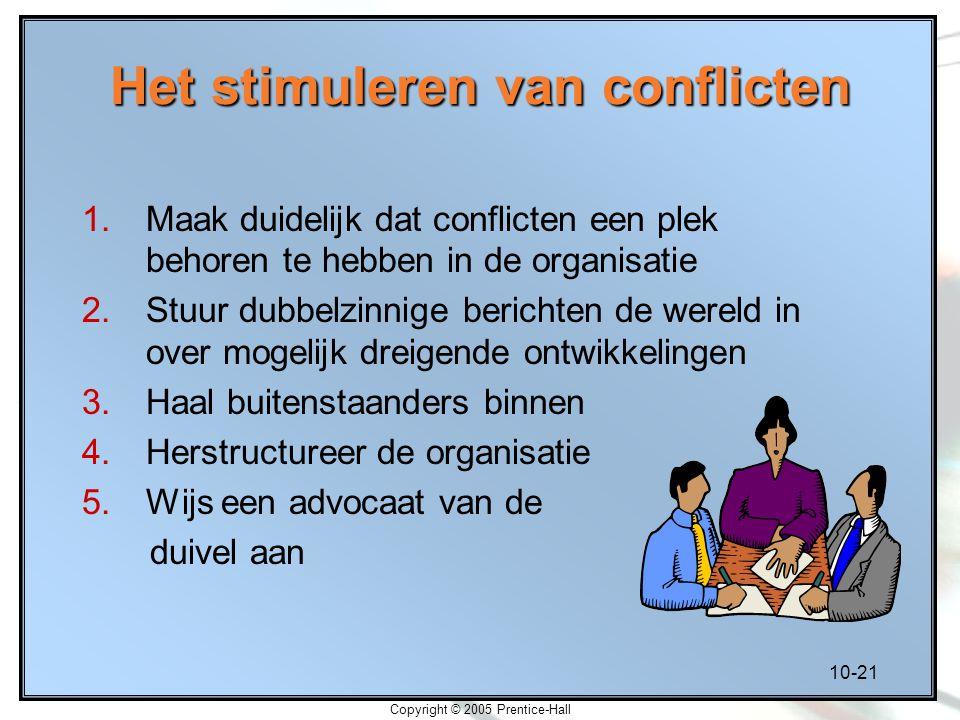 10-21 Copyright © 2005 Prentice-Hall Het stimuleren van conflicten 1.Maak duidelijk dat conflicten een plek behoren te hebben in de organisatie 2.Stuu