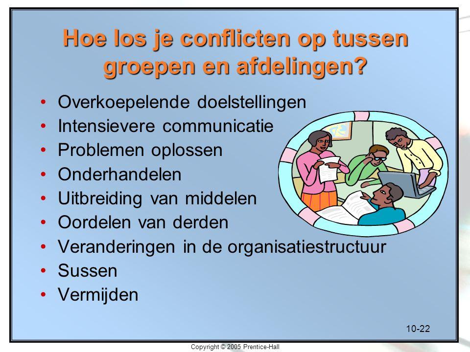 10-22 Copyright © 2005 Prentice-Hall Hoe los je conflicten op tussen groepen en afdelingen? Overkoepelende doelstellingen Intensievere communicatie Pr
