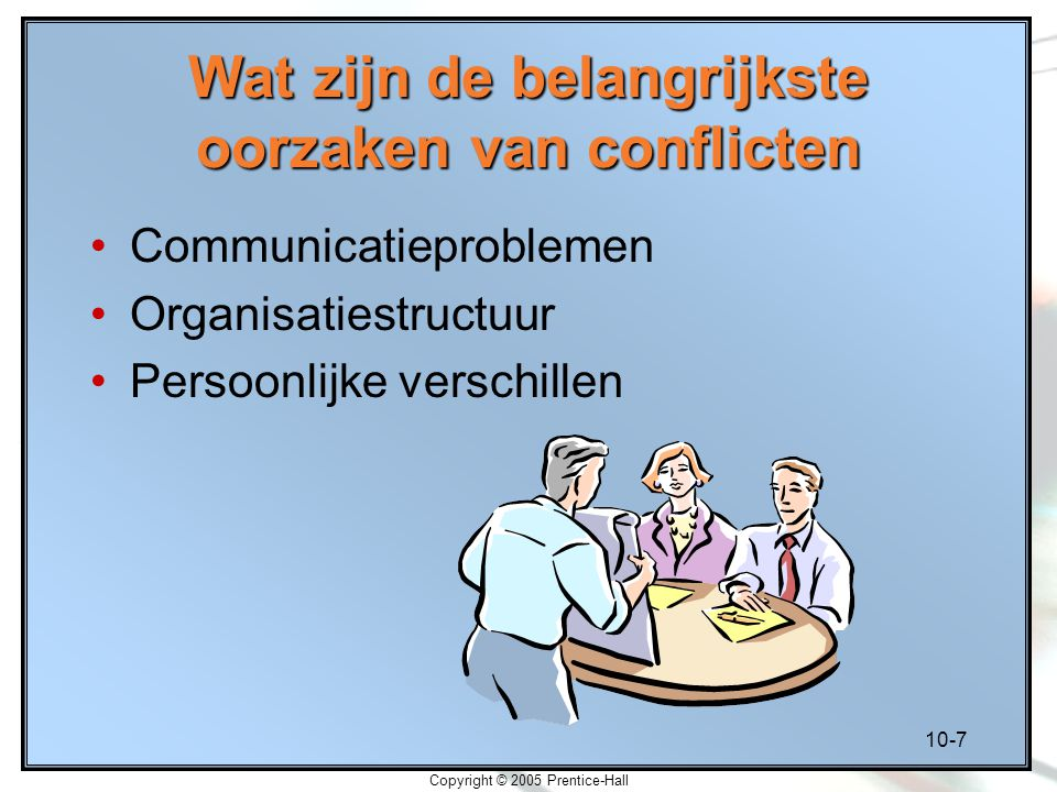 10-7 Copyright © 2005 Prentice-Hall Wat zijn de belangrijkste oorzaken van conflicten Communicatieproblemen Organisatiestructuur Persoonlijke verschil