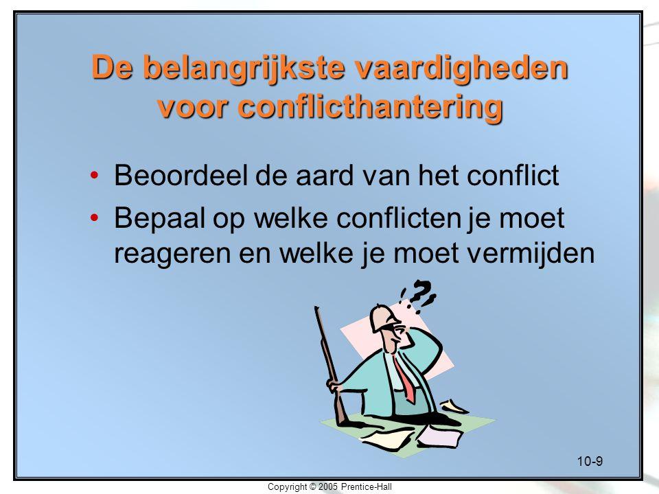 10-9 Copyright © 2005 Prentice-Hall De belangrijkste vaardigheden voor conflicthantering Beoordeel de aard van het conflict Bepaal op welke conflicten