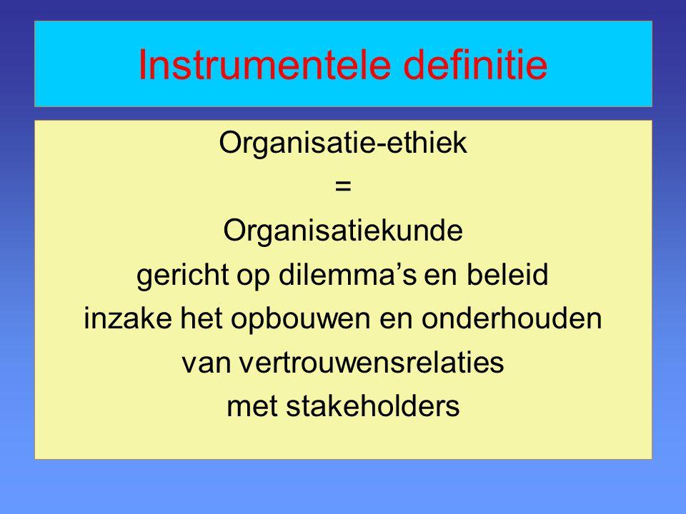 Instrumentele definitie Organisatie-ethiek = Organisatiekunde gericht op dilemma's en beleid inzake het opbouwen en onderhouden van vertrouwensrelaties met stakeholders