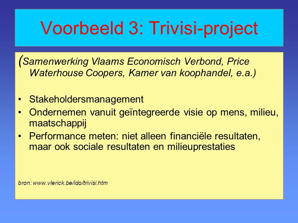 Voorbeeld 3: Trivisi-project ( Samenwerking Vlaams Economisch Verbond, Price Waterhouse Coopers, Kamer van koophandel, e.a.) Stakeholdersmanagement On
