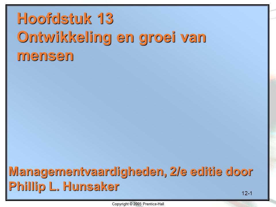 12-1 Copyright © 2005 Prentice-Hall Hoofdstuk 13 Ontwikkeling en groei van mensen Managementvaardigheden, 2/e editie door Phillip L. Hunsaker Copyrigh