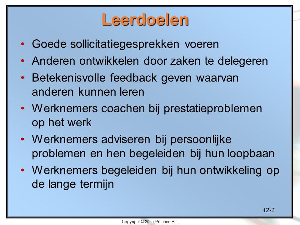 12-2 Copyright © 2005 Prentice-HallLeerdoelen Goede sollicitatiegesprekken voeren Anderen ontwikkelen door zaken te delegeren Betekenisvolle feedback