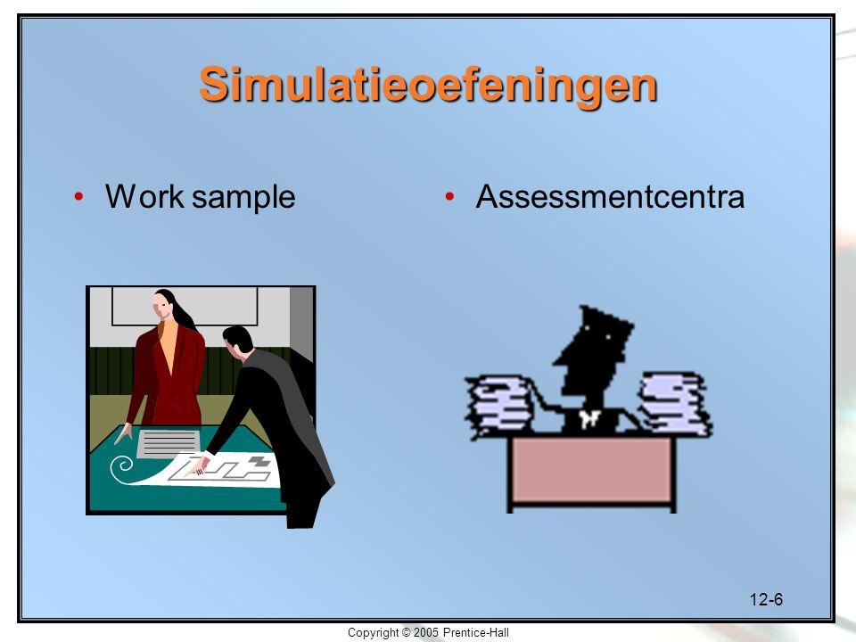 12-6 Copyright © 2005 Prentice-Hall Simulatieoefeningen Work sampleAssessmentcentra