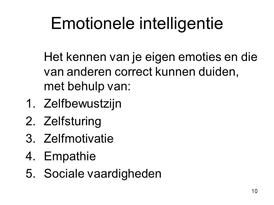 10 Emotionele intelligentie Het kennen van je eigen emoties en die van anderen correct kunnen duiden, met behulp van: 1.Zelfbewustzijn 2.Zelfsturing 3