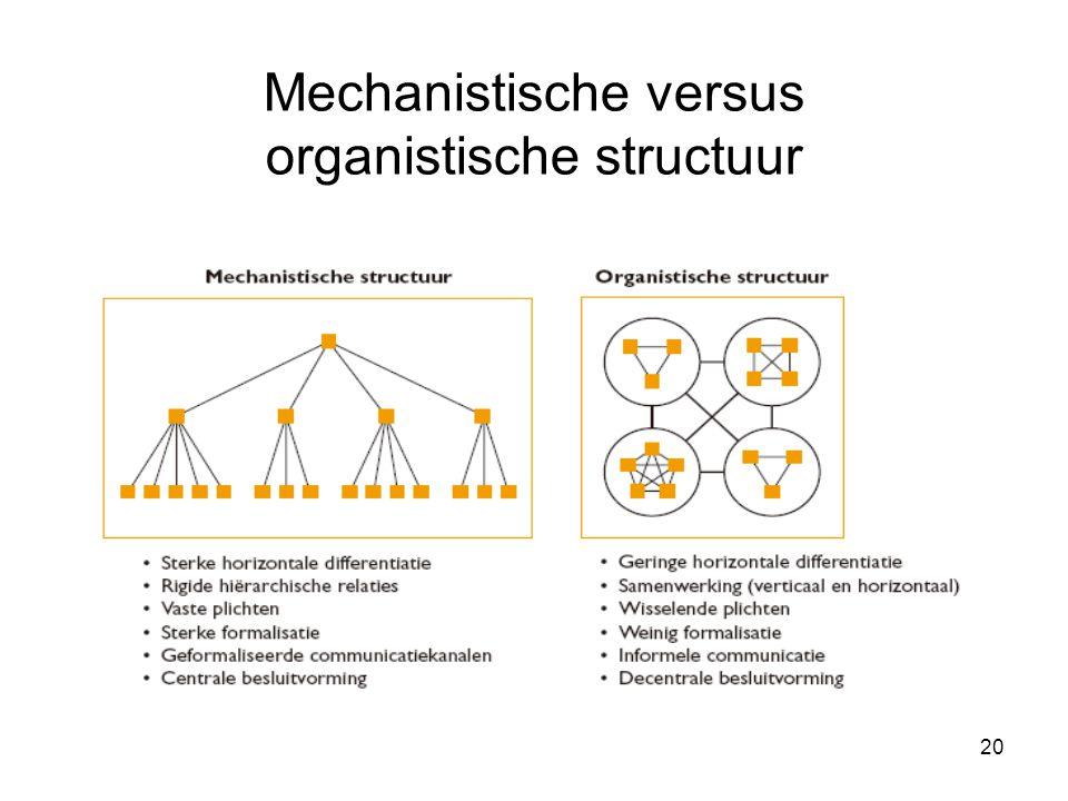 20 Mechanistische versus organistische structuur