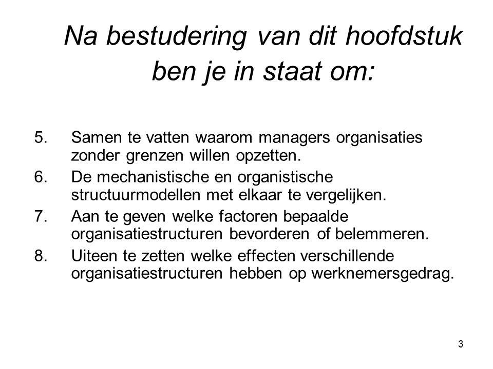 3 5.Samen te vatten waarom managers organisaties zonder grenzen willen opzetten. 6.De mechanistische en organistische structuurmodellen met elkaar te