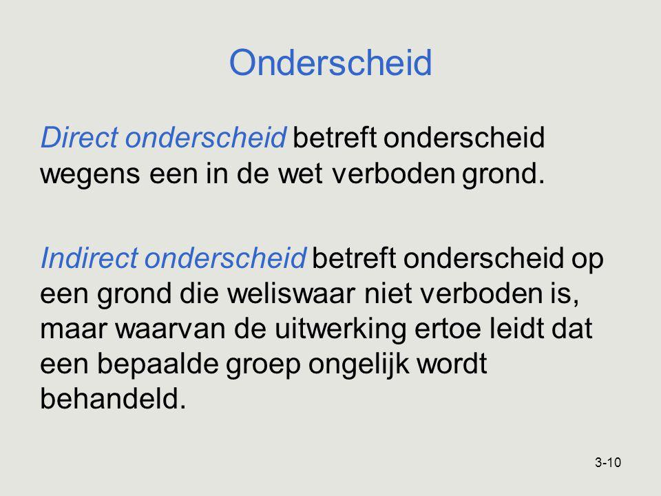 3-10 Onderscheid Direct onderscheid betreft onderscheid wegens een in de wet verboden grond.