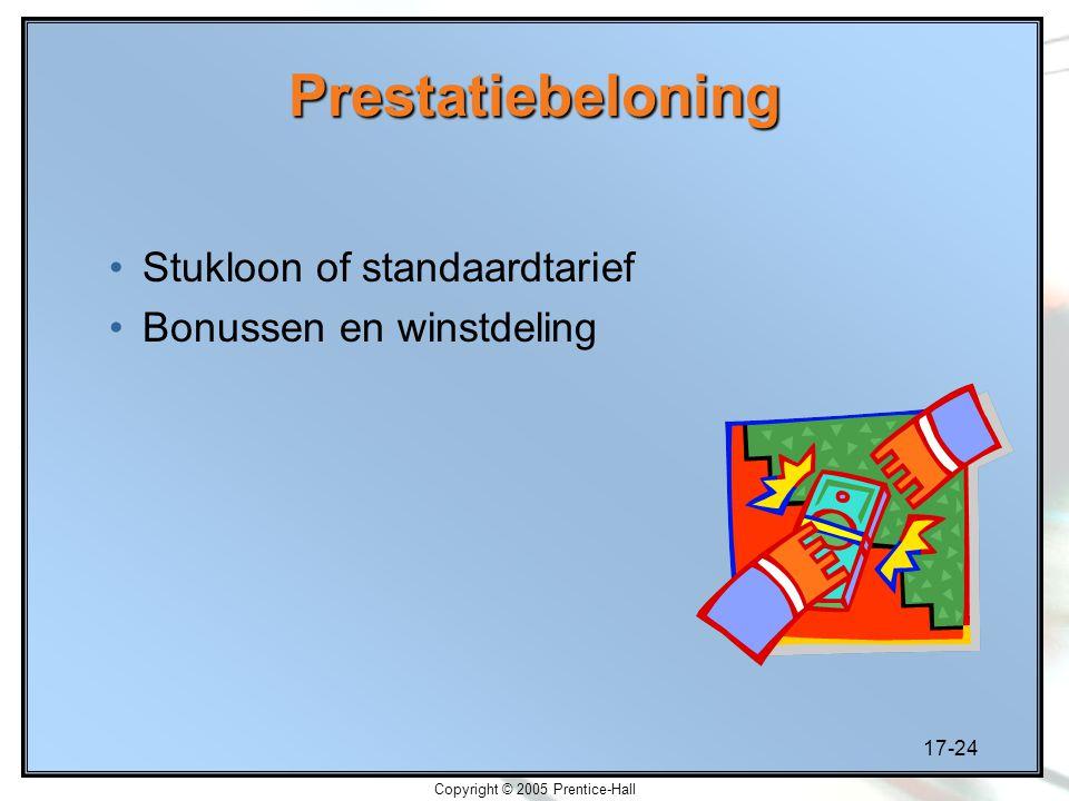17-24 Copyright © 2005 Prentice-Hall Prestatiebeloning Stukloon of standaardtarief Bonussen en winstdeling