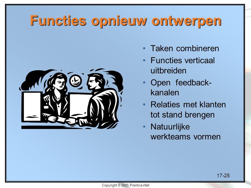 17-25 Copyright © 2005 Prentice-Hall Functies opnieuw ontwerpen Taken combineren Functies verticaal uitbreiden Open feedback- kanalen Relaties met kla